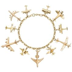 Yellow Gold Airplane Charm Bracelet