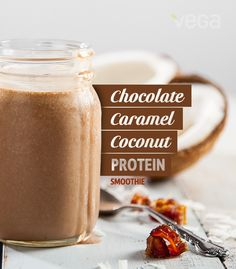 Chocolate Caramel Coconut Protein Smoothie: One sip, and you'll be sure you're drinking a smoothie made with crumbs of an iconic cookie sold only once or twice a year. #VegaSmoothie #BestSmoothie
