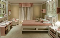 Bedroom - Little girl's dream space - soothing relaxing palette with tons of storage....sweet slumbers