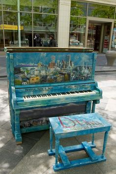 """Denver, Colorado – Keys to the City 2009 – """"Denver Then & No… – Musical instruments Painted Pianos, Painted Chairs, Hand Painted Furniture, Refurbished Furniture, Home Decor Furniture, Outdoor Furniture, Outdoor Decor, Small Toilet Decor, Piano Street"""