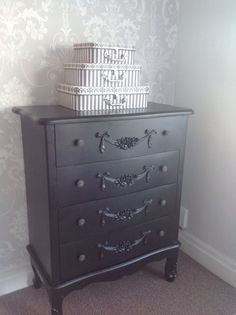 Bedroom AFTER -  Wallpaper : Laura Ashley josette dove grey.  Paint: Farrow & Ball blackened.  Chest of draws: Dunelm mill