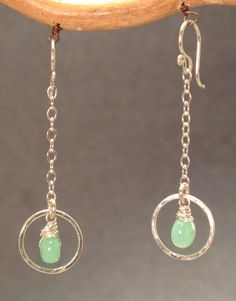 Venus 100 Chrysoprase on hammered circles and by CalicoJunoJewelry, $48.00