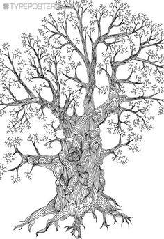 Detailed Oak Tree Huge Wall Art Print 40x60 - Custom Colors. $175.00, via Etsy.