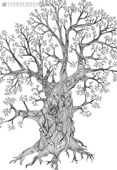 Detailed Oak Tree Huge Wall Art Print 40x60 - Custom Colors. $175.00, via Etsy.