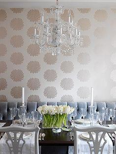 love the wallpaper and the bench seating. by  Sarah Richardson Design Inc. via dwellingsanddecor.tumblr.com