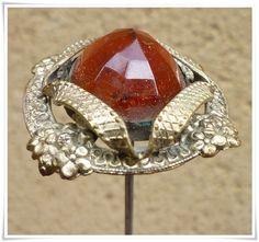 RARE Antique Victorian Amber Faceted Glass Hat Pin Epingle À Chapeau Ancienne | eBay