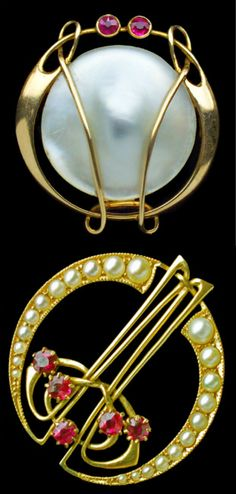 A collage of Art Nouveau Liberty and Co. brooches designed by Archibald Knox, British 1900.