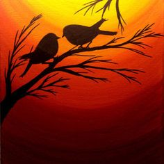 Sunset painting Love birds silhouette at sunset birds wall art Acrylic painting … Sunset painting Love birds silhouette at sunset birds wall art Acrylic painting canvas art Wall decor Black friday Thanksgiving sale Vogel Silhouette, Bird Silhouette, Silhouette Design, Silhouette Projects, Acrylic Painting Canvas, Watercolor Paintings, Acrylic Art, Bird Paintings, Painting Art