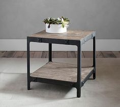 ideally I would like something round, but I do like this one - Clint Reclaimed Wood Side Table #potterybarn