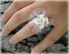 Polymer Clay Ring... White Flower Rhinestone by JoyfulCreationsArt, $16.00