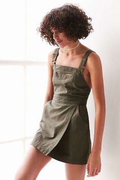 BDG Jessy Wrap-Front Overall Mini Dress - Urban Outfitters