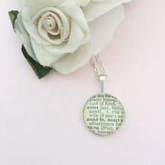 Vintage dictionary Auntie or Aunt necklace. https://www.etsy.com/listing/274551364/auntie-word-necklace-vintage-dictionary