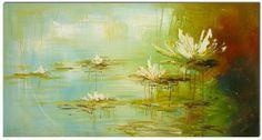 "16x32"" Original Modern Pallete Knife Oil Painting ""LAKE FLOWER"" Canvas Art"