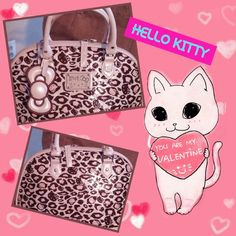 HELLO KITTY BEIGE/BLUSH PINK BOWLER HANDBAG ADORABLE ANIMAL PRINT BAG BY HELLO KITTY - ZIP CLOSURE WITH COMPARTMENTS INSIDE FOR STORAGE - VERY MINOR WEAR - SMALL LIPSTICK MARK INSIDE - NO OTHER ISSUES TO NOTE - NICE, QUALITY BAG! Hello Kitty Bags Satchels