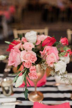 Gerbera Daisy Centerpiece, Kate Spade Party, Gold Wedding Centerpieces, 75th Birthday Parties, Pink And Gold Wedding, Wedding Gallery, Wedding Colors, Bridal Shower, Wedding Planning