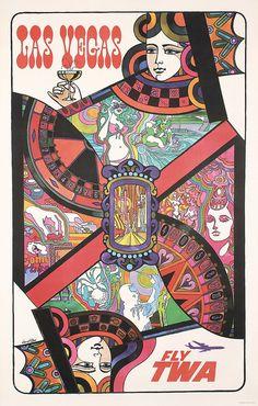 ORIGINAL 1960s DAVID KLEIN Las Vegas Travel Poster CARDS