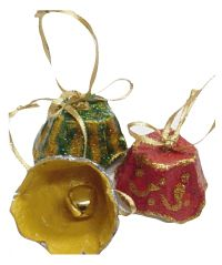 Bells from paper cupholder - http://rosanamodugno.hubpages.com/hub/12-Cool-Upcycled-Christmas-Ornaments