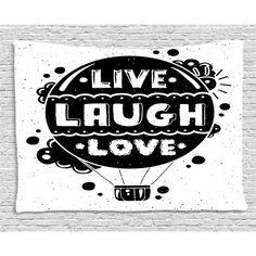 Ambesonne Live Laugh Love Pet Mat for Food and Water, Air Balloon Clouds Sun Hipster Illustration Philosophy Motto, Rectangle Non-Slip Rubber Mat for Dogs and Cats, Black and White Balloon Clouds, Air Balloon, Balloons, Hipster Illustration, Rubber Mat, Pet Mat, Dog Feeding, Live Laugh Love, Love Pet