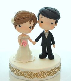 37 Ideas For Wedding Cakes Toppers Diy Simple Funny Wedding Cake Toppers, Wedding Topper, Bride And Groom Cake Toppers, Clay Projects, Clay Crafts, Diy Cake Topper, Creative Wedding Cakes, Fondant Tutorial, Cake Decorating Tutorials