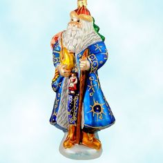 Christopher Radko Christmas Ornaments, Siberian Santa -Blue, 1999, 99-086-0, Gold stars, red hat, toys, gold bag, Mint With Tag