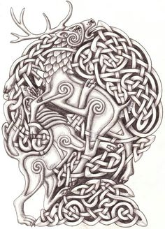 Celtic wolf and stag