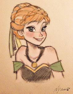 Disney Princess Sketches, Disney Drawings Sketches, Princess Art, Cool Drawings, Drawing Sketches, Drawing Disney, Drawing Tips, Drawing Drawing, Anna Frozen Drawing