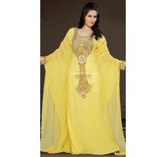 Looking Amazing With Attachment Of Yellow Faux Georgette Trendy Arabic Kaftan