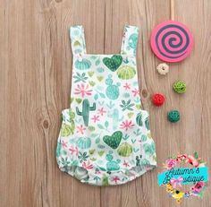 Excited to share this item from my #etsy shop: Cactus baby romper, baby romper, cactus outfit Baby Girl Fashion, Toddler Fashion, Toddler Outfits, Rompers For Kids, Girls Rompers, Baby Rompers, Baby Cactus, Cactus Cactus, Sewing Baby Clothes