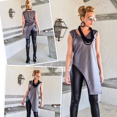 Gray Faux Leather Asymmetric Top Blouse by Synthia Couture