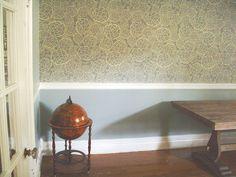 Wallpaper + chair rail... + globe that is a bar..!