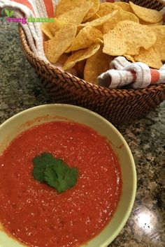 Learn how to make your own salsa! Click through to watch the video for this recipe that only uses 5 ingredients and a blender. It's dairy-free, vegan, and delicious!