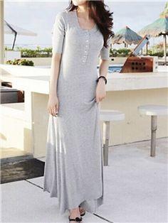 Ericdress Simple Plain Maxi Dress