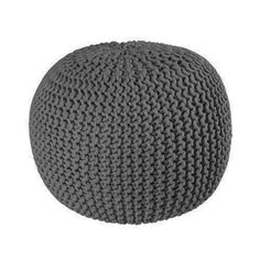 Knitted Footstool Pouffe Large - Charcoal delivers Australia wide