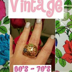 New ! VTG 60_70's statement ring Great piece from the late sixties or early 70's with an adjustable band. Interesting design with no missing stones. Some tarnish to band which is not visible when worn. Vintage Jewelry Rings