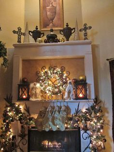 Embellishments by SLR: Christmas 2011 Mantel (note: fireplace design)
