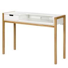Schreibtisch Halling - Eiche teilmassiv - Eiche / Weiß
