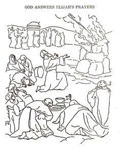 elijah coloring page - elijah on mount carmel coloring page script and bible
