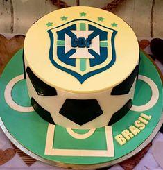 Brazil football cake Brazil, Birthday Cake, Football, Sport, Desserts, Food, Hs Football, Deporte, Tailgate Desserts