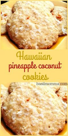 Hawaiian Pineapple Coconut Cookies Recipe - The perfectly sweet, chewy cookie! - Delicious Cookie Recipes - Hawaiian Pineapple Coconut Cookies Recipe – The perfectly sweet, chewy cookie! Get the recipe fro - Easy Cookie Recipes, Cookie Desserts, Sweet Recipes, Baking Recipes, Cookie Cups, Coconut Desserts, Cookie Favors, Cake Recipes, Coconut Recipes Breakfast