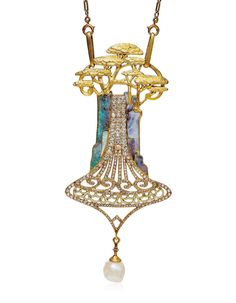 An Art Nouveau opal, diamond and enamel cedars pendant necklace, by Georges Fouquet, Estimate CHF This lot is offered in Beyond Boundaries Magnificent Jewels from a European Collection on 13 November 2017 at Christie's in Geneva High Jewelry, Jewelry Art, Antique Jewelry, Vintage Jewelry, Jewlery, Gold Jewellery, Bijoux Art Nouveau, Art Nouveau Jewelry, Alphonse Mucha