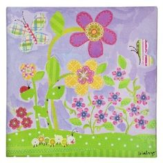 oopsy daisy | Oopsy Daisy too Lovely Lavendar Flower Wall Art - 10x10  sc 1 st  Pinterest & CIRCO CANVAS HAPPY FLOWERS WALL ART OOPSY DAISY SUNSHINE YELLOW BUGS ...