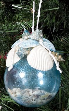 "For my ""beachy"" friends - Glass Sea Shell Ornament"