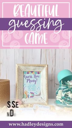 If you want a memorable party game, the magical mermaid baby shower guessing game jar cards are for you; the sea guessing cards are an ocean of fun for a kids birthday party, baby games for baby shower; gold & purple guess how many kisses in the jar cards glitter magic teal baby girl baby shower decorations shimmer sparkly guess how many baby shower games for girls girly guessing games baby shower ideas party games guess how many kisses game baby shower supplies baby shower decorations for girls Baby Shower Guessing Game, Easy Baby Shower Games, Baby Shower Candy, Guessing Games, Baby Shower Activities, Baby Games, Baby Boy Shower, Gender Reveal Party Supplies, Baby Gender Reveal Party