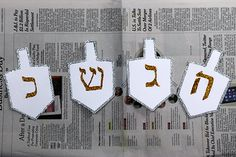 To add some extra flare to my Hanukkah tablescape I made these DIY dreidel cards. The letters that I used appear on actual dreidels. I thought it would be cute to put a different one on each card. It would be nice if you wrote a couple of words or a sentence on the back ...