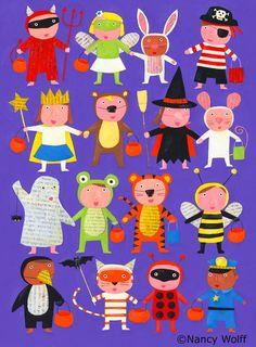 Halloween Art, Holidays Halloween, Happy Halloween, People Illustration, Cute Illustration, Kids Christmas, Christmas Crafts, Art For Kids, Crafts For Kids
