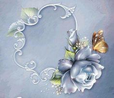 . Flower Frame, Flower Art, Boarders And Frames, Beautiful Rose Flowers, One Stroke Painting, Scrapbook Embellishments, Flower Images, Flower Tutorial, Vintage Flowers