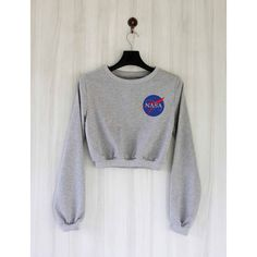 Nasa Crop Top Sweatshirt Sweater Jumper Pullover Shirt Size S M L ($23) ❤ liked on Polyvore featuring tops, hoodies, sweatshirts, white, women's clothing, white long sleeve shirt, white crop tops, cropped sweatshirt, crew-neck sweatshirts and white crop shirt Bauchfreier Pullover, Pullover Outfit, Crop Top Hoodie, Crop Top Sweater, Sweater Shirt, Crop Shirt, Teen Fashion Outfits, Mode Outfits, Stylish Clothes