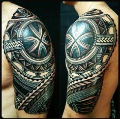 Heavy black tribal tattoo sleeve with spearhead patterns. Celtic Tribal Tattoos, Maori Tattoos, Irezumi Tattoos, Filipino Tattoos, Shoulder Armor Tattoo, Tribal Shoulder Tattoos, Tribal Sleeve Tattoos, Polynesian Tattoo Designs, Maori Tattoo Designs