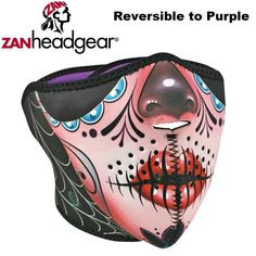 Zan Headgear Neoprene Half Face Mask Sugar Skull Reversible Purple Womens Girls