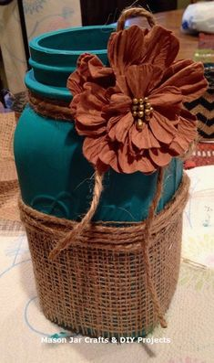 "43 Graceful Diy Mason Jar Crafts Ideas - DECORRACKS - 43 Graceful Diy Mason Jar Crafts Ideas – Mason jar gifts, or what some people call ""gifts in a - Pot Mason Diy, Fall Mason Jars, Mason Jar Burlap, Mason Jar Projects, Mason Jar Crafts, Mason Jar Lighting, Decorated Jars, Wine Bottle Crafts, Diy Home Decor Projects"